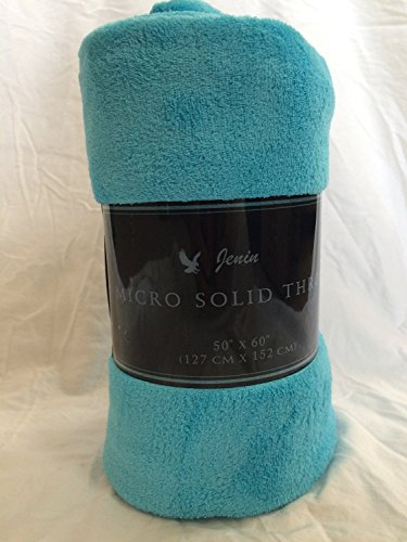 "Awad Home Fashion Solid Warm & Cozy Soft Fleece Throw Plush 50""x60"" Blanket, Turquoise"