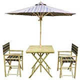 Zew 4-Piece Bamboo Outdoor Backyard Set with 1 Square Table, 2 Director Chairs and 1 Umbrella, Black Stripe