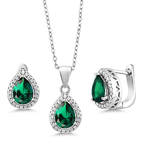 650-Ct-Pear-Shape-Green-Nano-Emerald-925-Sterling-Silver-Pendant-Earrings-Set