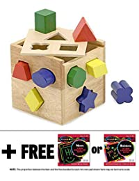 Wooden Shape Sorting Cube Classic Toy + FREE Melissa & Doug Scratch Art Mini-Pad Bundle [05753] BOBEBE Online Baby Store From New York to Miami and Los Angeles