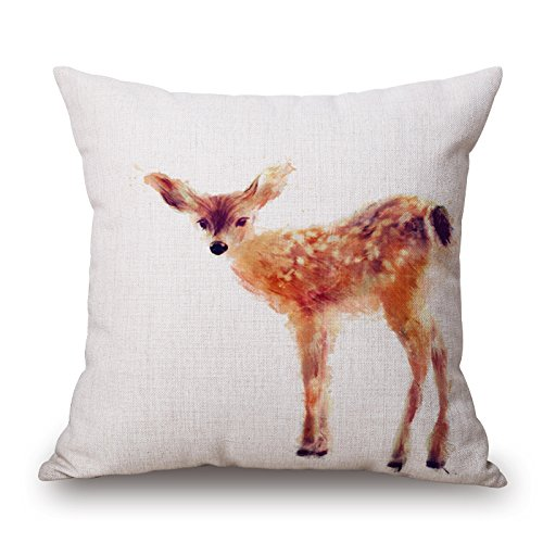 Elliot_yew Nordic Simple Watercolor Painting Animals Throw Pillow