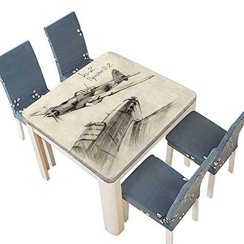 lecloth Airplane Hand Drawn Series Soviet MilitaryEnginery Jets Flights World War Aviation Sketch Black Table Cover Dining Room Party 49 x 49 INCH (Elastic Edge) ()