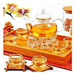 Chinese Gongfu Glass Tea Pot Set With Infuser Filter Tealight Warmer 6 Cups by SiamsShop