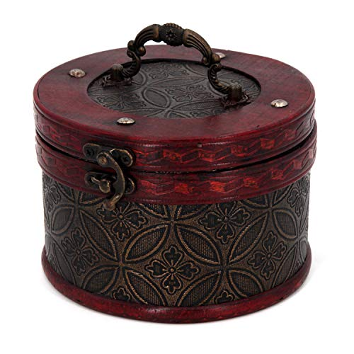 (Sealive Round Treasure Chest Box Organizer, Brown Retro Old Style Wooden Jewelry Box Keepsake Case Storage Trunk with Lock, Trinket Situcase Wood Box with lid, Decorative Box for Women Girls (L))