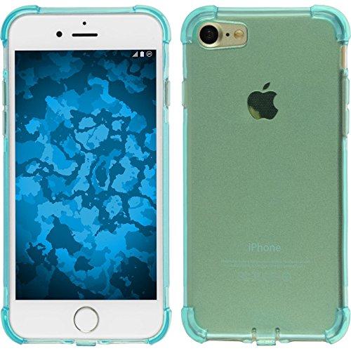 PhoneNatic Case für Apple iPhone 8 Hülle Silikon blau Shock-Proof Cover iPhone 8 Tasche + 2 Schutzfolien