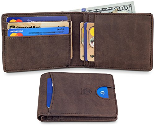 TRAVANDO Slim Wallet - RFID Blocking Wallet - 4 Card Pockets - Mini Credit Card Holder - Travel Wallet - Minimalist Bifold Wallet for Men with Gift Box - Dimensions Credit Card Standard