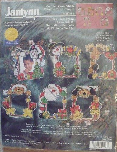 amazoncom christmas photo frame ornaments 6 counted cross stitch kit janlynn 140 191