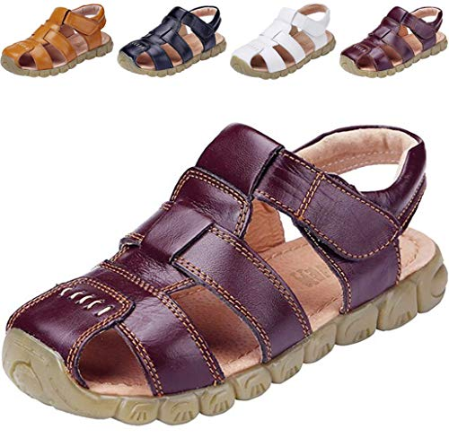 DADAWEN Boy's Girl's Leather Closed Toe Outdoor Sport Sandals (Toddler/Little Kid/Big Kid) Brown US Size 2.5 M Little Kid