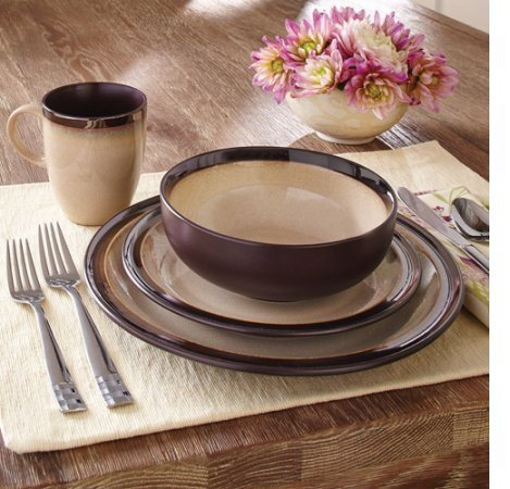 Better Homes and Gardens 16-Piece Sierra Dinnerware Set with Dinner Plates, Salad Plates, Mugs and Bowls, Beige