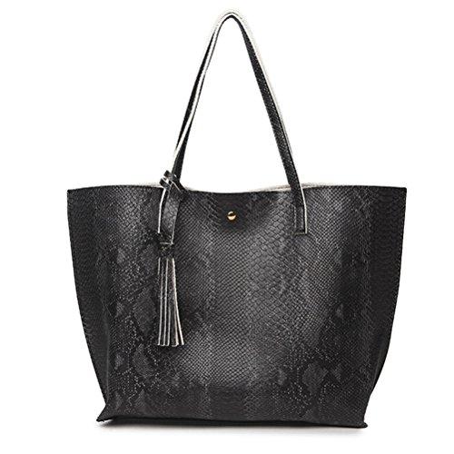 Tout Fourre Sac Cours PU Grand en Serpentine Main Voyage à de Cabas ZHRUI Cuir Sac Femme Motif Shopping Noir v1qR1P