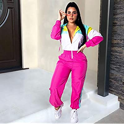Women Colorblock One Piece Outfits Set High Waist Pants Long Sleeve Zipper Front Windbreaker Jumpsuit at Women's Clothing store