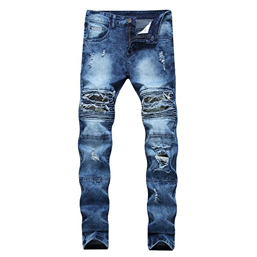 JOSONEY Men's Blue Ripped Slim Fit Moto Biker Jeans Distressed Stretch Jeans with Camo Patches 34 by JOSONEY