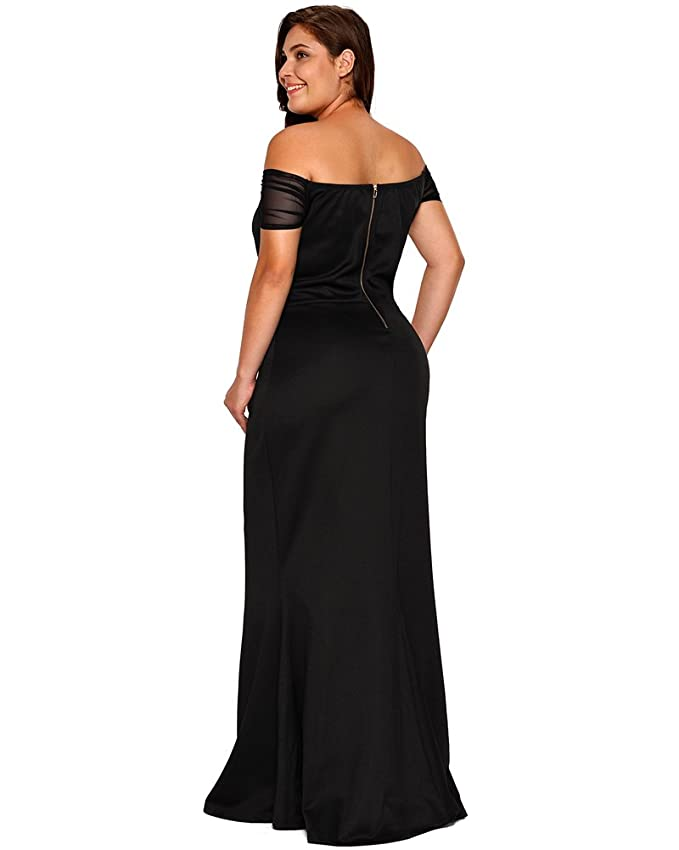 bcea59e32881 Amazon.com: Lalagen Women's Plus Size Off Shoulder Long Formal Party Dress  Evening Gown: Clothing
