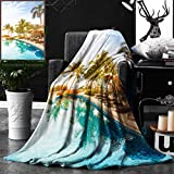 Unique Custom Double Sides Print Flannel Blankets House Decor Aerial View Of A Pool In A Health Resort Spa Hotel With Exotic Element Super Soft Blanketry for Bed Couch, Throw Blanket 50 x 60 Inches
