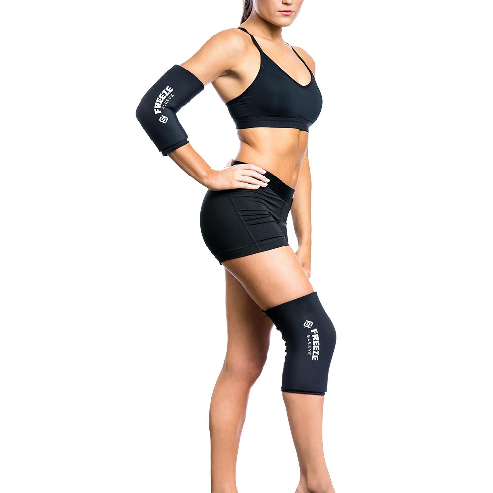 FreezeSleeve Cold Therapy Compression Sleeve - Black - Large - Natural Pain Relief Sleeve for Muscles & Joints - Sized for Men, Women & Kids - Made in USA - for Arthritis, Injuries & Sports Recovery by FreezeSleeve