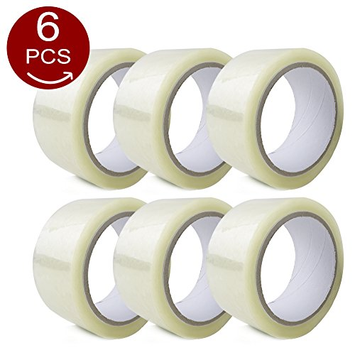 LQQBSTORAGE Sealing Tape(2 inch X 60 Yards,55m) Transparent Packing Tape Box and Package Sealing Rolls for Shipping and Mailing(Set of 6)