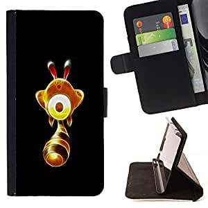 DEVIL CASE - FOR Sony Xperia Z1 L39 - Cute Glowing Yellow Thingy - Style PU Leather Case Wallet Flip Stand Flap Closure Cover
