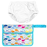 Iplay Unisex Baby Boy or Baby Girl Reusable Diaper Swimsuit Wet Bag White 4T
