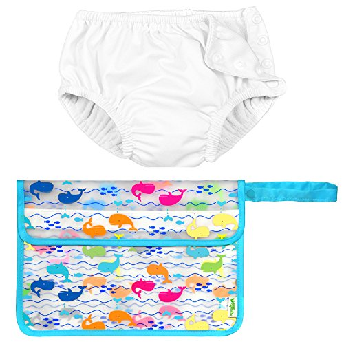 Iplay Unisex Baby Boys or Baby Girls Reusable Diaper Swimsuit Wet Bag White (10 Lb White Pool)