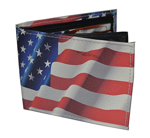 Mens Bifold Exotic Wallet Picture US Waving American Flagwith printed gift box