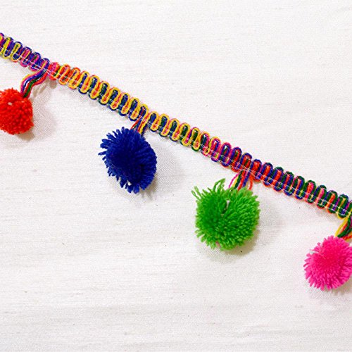 1.5 inch Wide Trim Decorative Pom Pom Tassel Fringe Multicolor Ribbon Sewing Accessories Applique By The Yard