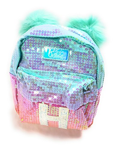 a4a9340fce11 Galleon - Justice Girls Ombre Initial Mini Pom Pom Backpack