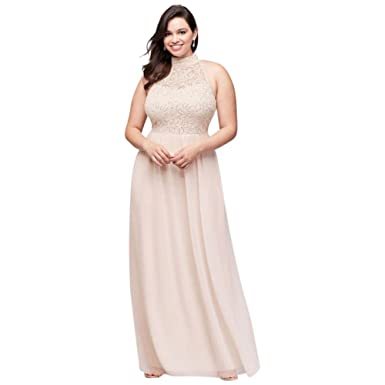 David\'s Bridal High-Neck Chiffon Plus Size Prom Dress With Ladder ...