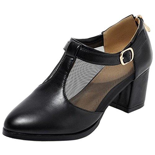6312 Women's Court Black TAOFFEN Heels Block Shoes gFfwBcYaq