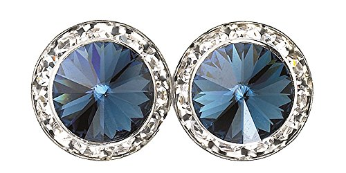 20mm Montana Blue Authentic Swarovski Elements Round Crystal Rhinestone Earrings - Made in the USA (Balls Rondelles Crystal Swarovski)