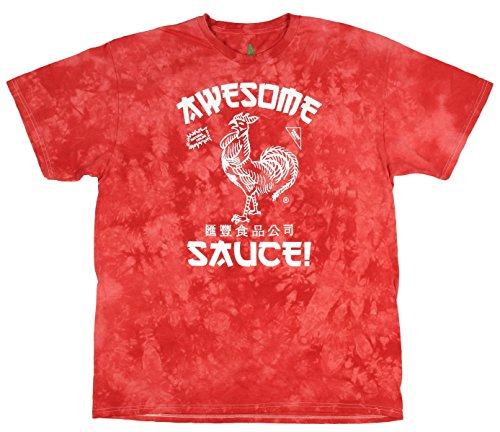 Sriracha Mens Hot Chili Awesome Sauce Label Acid Wash T-Shirt (XXX-Large)