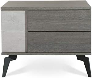 Limari Home Cuscana Collection Modern Style Faux Concrete & Matte Italian Bedroom Nightstand With 2 Soft Closing Drawers & Metal Legs, Grey