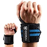 Wrist Wraps (18' Premium Quality) for Powerlifting, Bodybuilding, Weight Lifting - Wrist Support Braces for Weight Strength Training (Black/Blue)