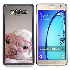 Eason Shop / Premium SLIM PC / Aliminium Casa Carcasa Funda Case Bandera Cover - Corazón lindo Gafas dulce - For Samsung Galaxy On7 O7