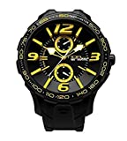 NOA Unisex Swiss Quartz Watch - Premium Analog Display With Black Dial and Watch Band - White and Yellow Accents - Water Resistant Stainless Steel Fashion - G EVO-008