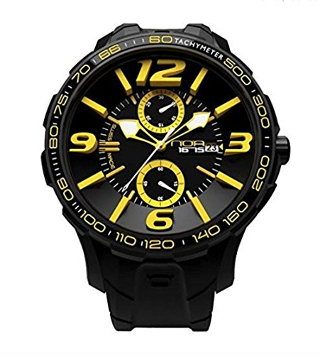 NOA Unisex Swiss Quartz Watch - Premium Analog Display With Black Dial and Watch Band - White and Yellow Accents - Water Resistant Stainless Steel Fashion - G EVO-008 by Noa Watch