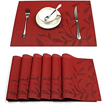 HEBE Placemats Set Of 6 Heat Resistant PVC Placemat For Dining Table Woven  Vinyl Stain