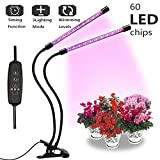 Grow Light 20W, 3H/9H/12H Timming 60LED Dual Head Growing Light,[2018 Upgraded] 8 Dimmable Levels and 360 Degree Gooseneck Grow Lamp for Indoor Plants Hydroponics Greenhouse Office