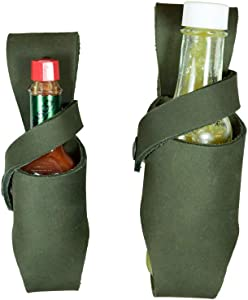 Hide & Drink, Thick Leather Hot Sauce Holster (2-Pack) 5 oz & 2 oz Bottle, Belt Sheath, Handmade Includes 101 Year Warranty :: Peat Moss