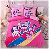 Featuring My Little Pony Bedding Sheet Set Single Queen Twin Full Size 【Free Express Shipping】 【100% Cotton】 Cartoon Girly Pink Pinkie Pie Rarity 3 and 4 Pieces Bed Sheets (Single / Twin Size)