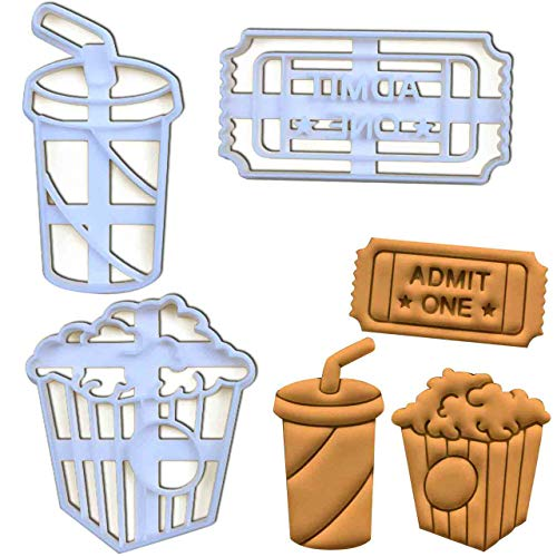 Set of 3 Cinema themed cookie cuters (Designs: Popcorn, Admit One Ticket, and Soft Drink), 3 pieces - Bakerlogy ()