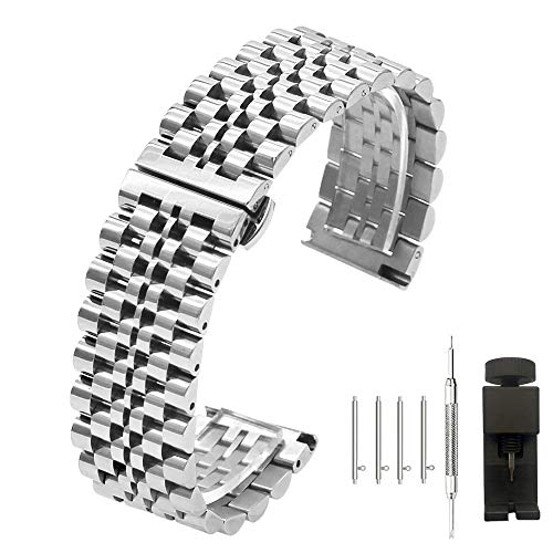 Quick Release Watch Band Stainless Steel Straps 20mm Push Button Butterfly Clasp 7 Rows Metal Watch Bracelet Replacement Band for Men Women -