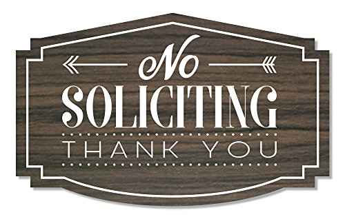 No Soliciting Thank You Sign for Home or Business | Laser Engraved on stylish material (Small, Kona/White) by Access48 signs