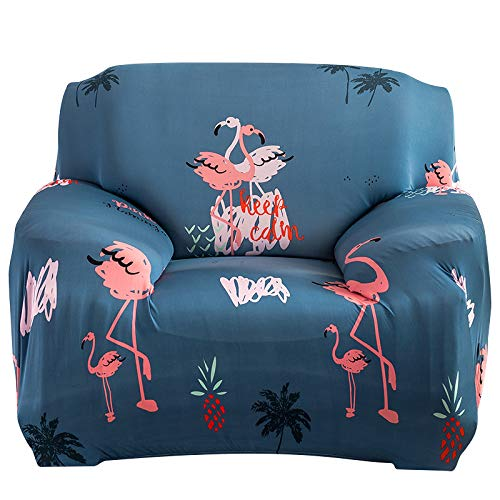 (WATTA Stretch Elastic Sofa Slipcover 1 Seater Chair Sofa Couch Polyester Spandex Flamingos Printing Fabric Sofa Protector)