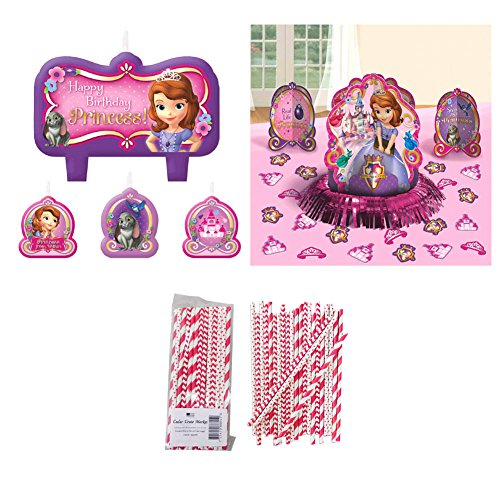 Sofia the First Table and Cake Decorations: Candle Set and Table Decorating Kit with (Sofia The First Centerpieces)