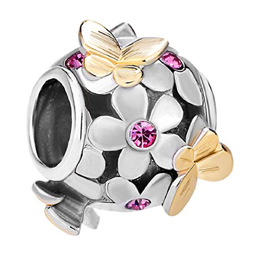 Flying Butterfly Flower Golden 925 Sterling Silver Charm Crystal Bead Fits European Charms (Rose Pink October Birthstone) - Crystal Flower Slide Charm