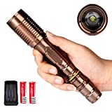 1 Set Reasonable Unique LED Flashlight 3000 Lumens 5-Mode LEDs Flashlights Bike Bicycle Night Light Headlight Coast Bright Camping Military Police Tactical Lamp Torch Color Bronze w/ Battery Charger