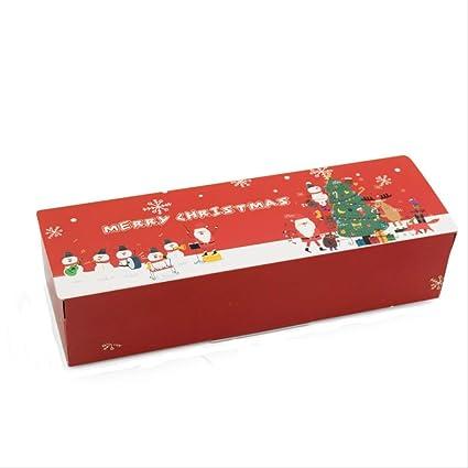 PXNH 5pcs Caja de regalo de papel de feliz Navidad Cajas de papel de turrón de