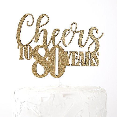 NANASUKO 80th Birthday Cake Topper - Cheers to 80 years - Premium quality Made in USA, Gold -