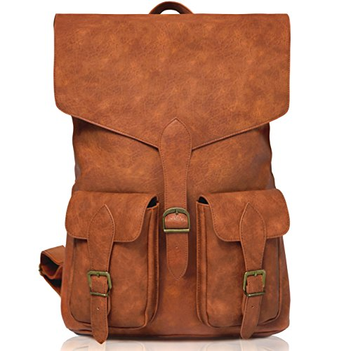 Stylish Vintage Laptop Leather backpack for Men & Women, Best for Travel, School, Work (Vintage Leather Luggage)