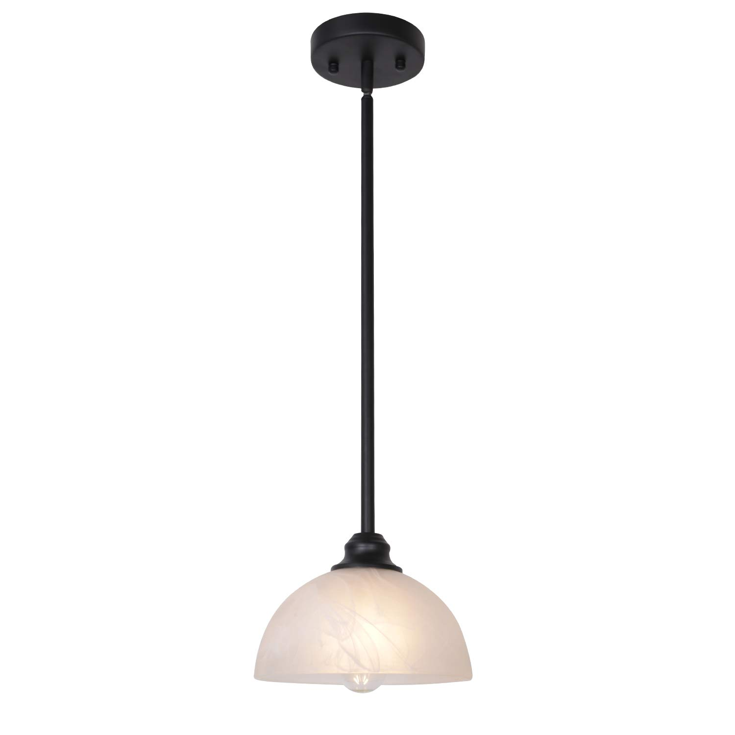 TULUCE Contemporary One-Light Pendant with Alabaster Glass Shades Black Light Fixtures Ceiling Hanging for Kitchen Dining Room Bedroom
